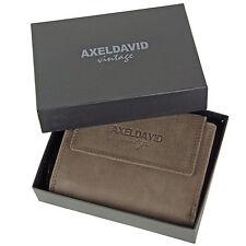 AXEL DAVID Leder Geldbörse Portemonnaie Geldbeutel MADRAS Damen Börse Echt Braun