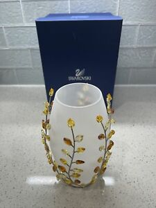 Swarovski Crystal Topaz Leaves Vase 854108