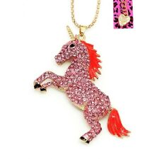 Betsey Johnson Pink Crystal Unicorn Gold Pendant Chain Necklace Free Gift Bag