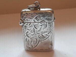 Antique solid silver vesta case 1898