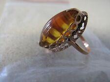 Russian Soviet High set Ring Rose Pink Gold Long Honey AMBER stone 583 sz 6.25