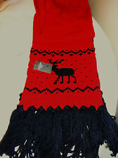 WOMEN ABERCROMBIE & FITCH WINTER REINDEER HOLIDAYS RED KNIT WOOL SCARF MUFFLER