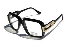 Gloss Black Clear Lens Square Sun Glasses Gold Metal Accents Hipster