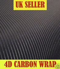 1m x 500mm Black 4D Carbon Fibre Fiber Vinyl Wrap Air Drain Sticky Back Plastic