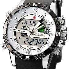 U.S.A SHARK Fashion Mens LCD Digital Rubber Quartz Date Day Wrist Sport Watch