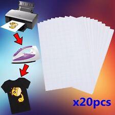 20X A4 T-Shirt Transfert Papier Jet D'encre Pour Imprimant Textile Tissu Foncé