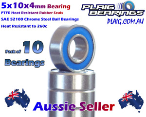 5x10x4mm Bearings (10) Precision High Speed Bearing Heat Resistant Seals RC