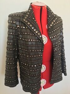 Harry Who Women's Brown Leather Riveted Jacket Size 12