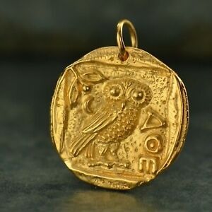 Ancient Gold Coin Mens Thick Necklace Chain 24K Plated Charm Owl of Athena G886