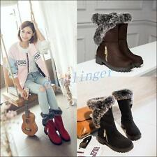 Womens Pull On Winter Warm Mid Calf Boot Faux Suede Low Cuban Heels Shoes Fur sz
