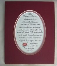 GOD MADE Loving SISTER Loyal FRIEND Gift RARE Beyond Compare poems verses plaque