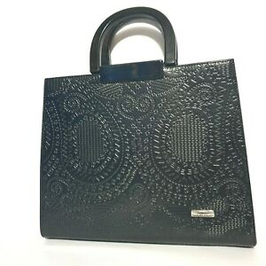 NEAR NEW Serenade Beverly Hills Collection Genuine Leather Bag Black Texture