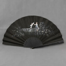 Hand Painted on Silk and Wood European Fan – Circa 1900