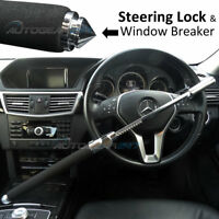 Car Van 4x4 Steel Aluminium Steering Wheel Lock with Built-in Window Breaker.