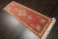 """2'7"""" x 10' Hand Knotted Wool Aubusson Savonnerie Oriental Area Rug Rose Runner"""