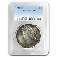 1922-D Peace Dollar MS-63 PCGS (Toned, Obv & Rev) - SKU#87049
