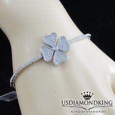 "Ladies Women's Solid 925 Sterling Silver Flower Cubic CZ Tennis Bracelet 8.5"""