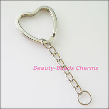 2Pcs Dull Silver Plated Split Heart Key Rings With Chains Connectors 31mm