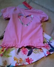 BNWT Me Too designer girl 18-24 months outfit t shirt top skirt pink floral bird