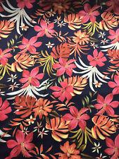 Navy & Red Floral Hawaii Printed Satin Dress Fabric.