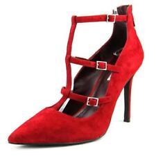 Zapatos de tacón de mujer de color principal rojo de ante