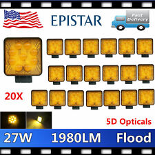 20X 27W LED Square Work Light OffRoad SUV Truck 4WD Forklift Driving 1980LM 5D+