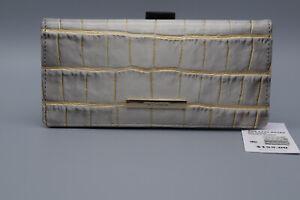 New Brahmin Leather Sterling Miravet Card Ady Python Print Organizer Wallet $155
