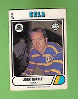 1976  PARRAMATTA EELS  SCANLENS RUGBY LEAGUE CARD #91. JOHN QUAYLE
