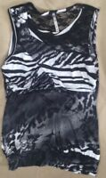 Carrie Allen Large Dressy Tank Top Black/White Womens