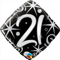 "FOIL BALLOON 18""(45CM) 21st Birthday Elegant Sparkles & Swirls QUALATEX FOIL ..."