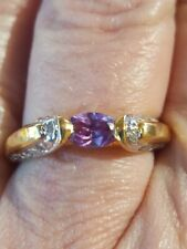 Alexandrite Oval Cut And Diamond Ring 10kt Solid Yellow Gold