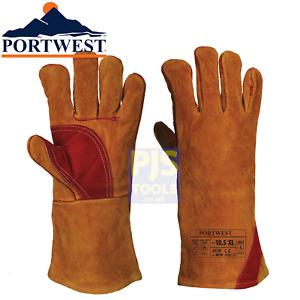 Portwest A530 kevler leather glove welders gauntlet woodburner stove log fire