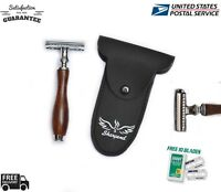 DARK WOOD COLOR  Safety Razor Double Edge Razors 10 Free Blades Pouch travel kit