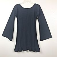 Wassa Womens Size M Black Tunic Top With Ruffle Bottom Long Bell Sleeves
