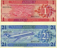 Netherlands Antilles Central America Unc pair 1 & 2 1/2 Gulden 1970 p-20,21