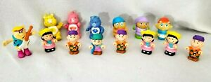 Vintage Plastic and PVC Toy Lot of 14 Glowworm Care Bears Charlie Brown Barney