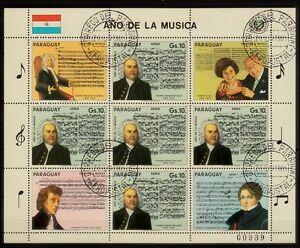 Kleinbogen  Paraguay 1985 MiNr.  3861 Musik , music , bach  gestempelt
