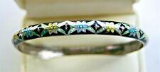 Enamel Flowers 7mm Bangle Bracelet Beautiful Vintage Sterling Silver Multi Color