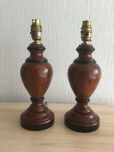 """Pair Of Painted Wooden Lamps 12"""" High"""