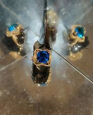 Size O 3.4Ct Aquamarine & Topaz Gold Plated Sterling Silver Ring