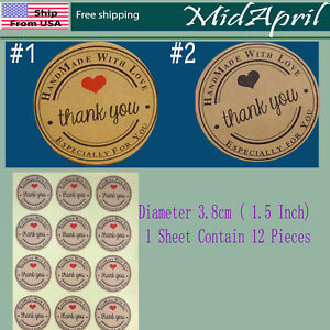 Hand made with love sticker kraft paper wedding thank you labels