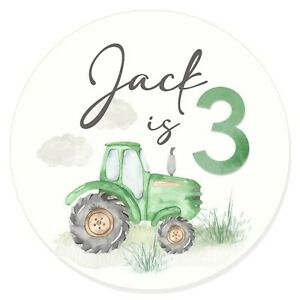 24 Glossy Personalised Green Tractor Stickers for Party & Sweet  Bags 45mm Dia