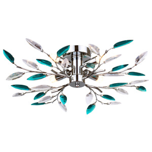 Modern Semi Flush Chrome Ceiling Light with Teal Acrylic Leaves by Happy Home...
