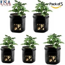 5 Pack Garden Potato Growing Bags with Access Flap and Handles Planter Bags Usa