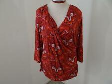 Talbots knit top womens size L large red purple paisley print V neck 3/4 sleeves
