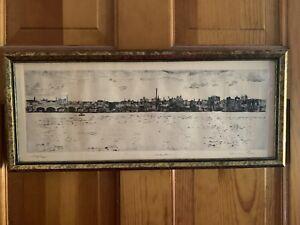 "Herman Rose (Am. 1909-2007) Signed Etching ""Hoboken NJ"" 1974 8.5""×20"" #193/200"