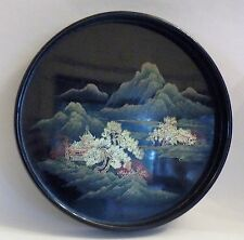 nopBX VINTAGE JAPANESE LACQUER ON WOOD SMALL TRAY, landscape, MAKI-E 8 1/4""