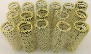"Conair Yellow 2"" Long 1/2"" Thick Brush Curlers Rollers Lot of 16"