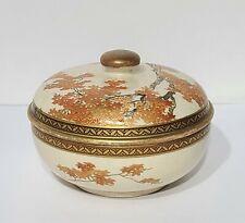 Antique Japanese Meiji Period Satsuma Covered Box / Bowl