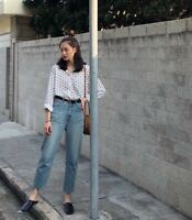 Women's Color Block Jeans Denim High Waist Straight Pants Korean light blue